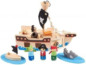 Kids Pirate Ship Toys, Wooden Pirates for boys (Total 11 Pieces)
