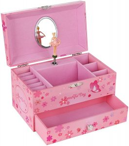 SONGMICS Ballerina Music Jewelry Box Storage Case