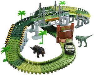 Race Car Track Dinosaur Train Track Toy Set with 142 Pieces Flexible Tracks Set 2 Dinosaurs and Military Vehicles 4 Trees 2 Slopes 1 Double-Door 1 Hanging...