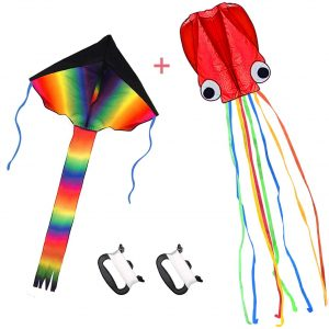 Large Rainbow Delta Kite and Red Mollusc Octopus with Long Colorful Tail for Children Outdoor
