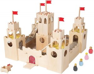 MiO Wooden Castle + Horse + 4 Bean Bag People Peg Dolls Imaginative Montessori Style STEM Learning Modular Wooden Building Playset for Boys and Girls 4 year old