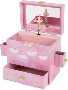 Jewelkeeper Ballerina Musical Jewelry Box with 3 Drawers, Pink Rose Design, Swan Lake Tune