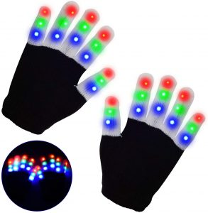 LSXD Flashing LED Finger Light Gloves with 3 Colors 6 Modes- LED Warm Gloves Colorful Glow Gloves - Light Up Toys for Kids Boys Girls