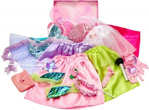 Girls Dress up Trunk Princess,Mermaid,Bride,Pop Star, Ballerina,Fairy Costume Set for Little Girls Toddler 3-6yrs Pink