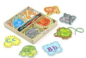 Melissa & Doug Alphabet Wooden Lacing Cards With Double-Sided Panels and Matching Laces