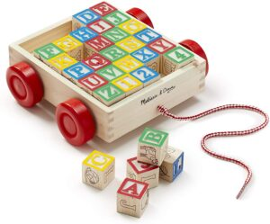 Melissa & Doug Classic ABC Wooden Block Cart